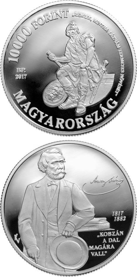 Image of 10000 forint coin - 200th Anniversary of Birth of János Aran | Hungary 2017.  The Silver coin is of Proof quality.