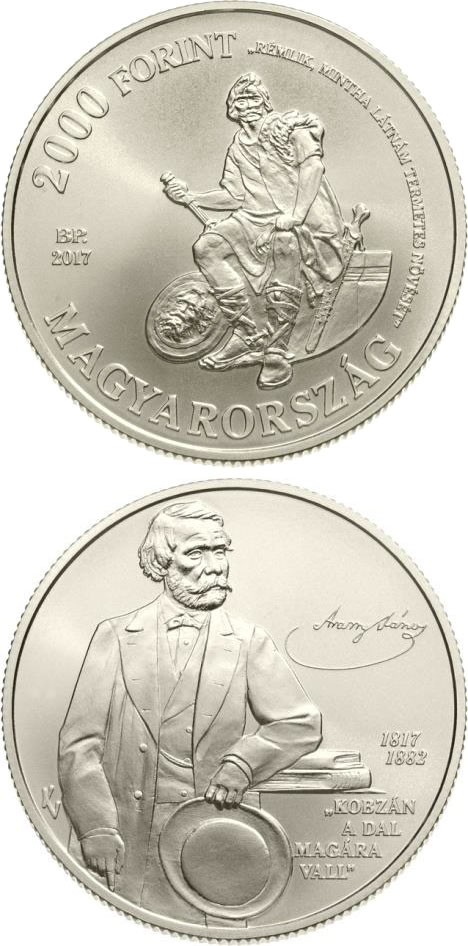 Image of 2000 forint coin - 200th Anniversary of Birth of János Arany | Hungary 2017.  The Copper–Nickel (CuNi) coin is of BU quality.