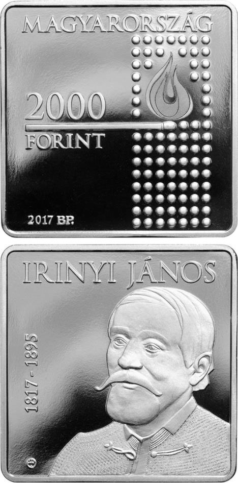 Image of 2000 forint coin - 200th Anniversary of Birth of János Irinyi | Hungary 2017.  The Copper–Nickel (CuNi) coin is of Proof quality.