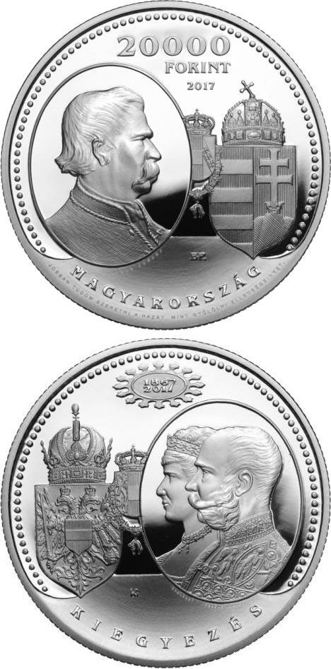 Image of 20000 forint coin - 150th Anniversary of the Austro-Hungarian Compromise of 1867 | Hungary 2017.  The Silver coin is of Proof quality.