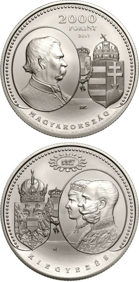 Image of 2000 forint coin - 150th Anniversary of the Austro-Hungarian Compromise of 1867 | Hungary 2017.  The Copper–Nickel (CuNi) coin is of BU quality.