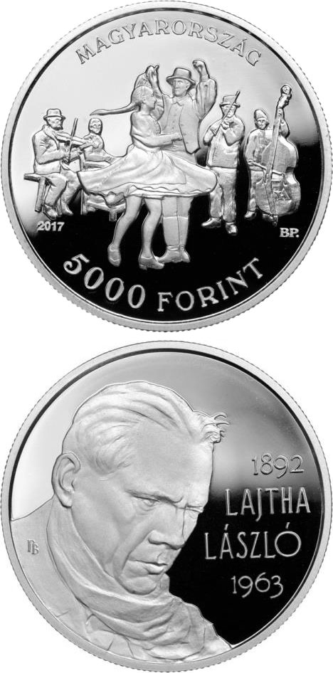 Image of 5000 forint coin - 125th Anniversary of Birth of László Lajtha | Hungary 2017.  The Silver coin is of Proof quality.