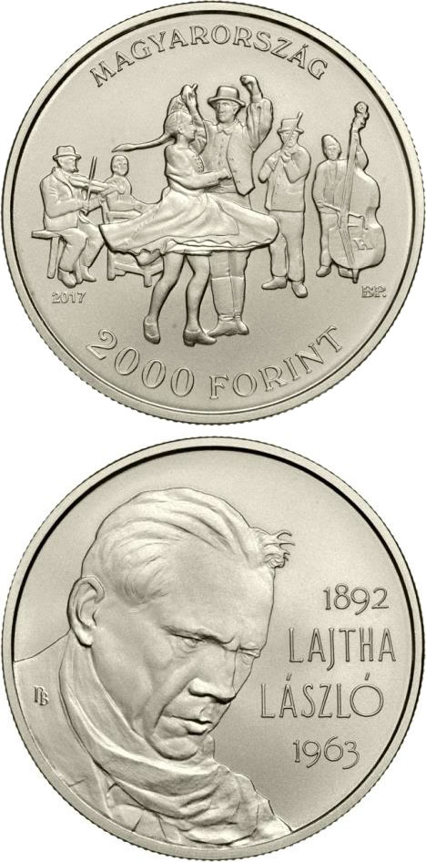Image of 125th Anniversary of Birth of László Lajtha – 2000 forint coin Hungary 2017.  The Copper–Nickel (CuNi) coin is of BU quality.