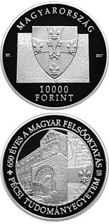 10000 forint coin 650th Anniversary of Foundation of the University of Pécs | Hungary 2017