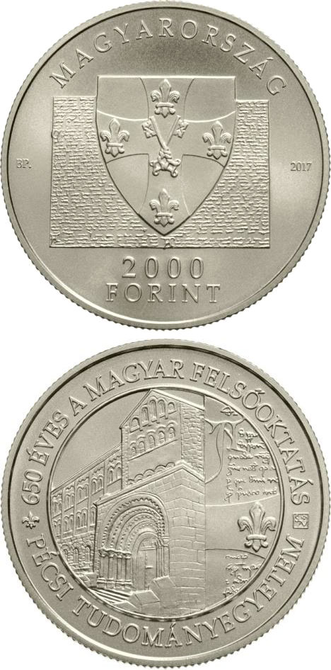 2000 forint 650th Anniversary of Foundation of the University of Pécs - 2017 - Series: Commemorative 2000 forint coins - Hungary