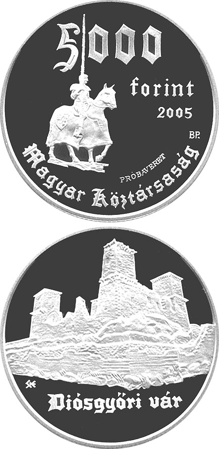 Image of 5000 forint coin - Diósgyőr Castle | Hungary 2005.  The Silver coin is of Proof quality.