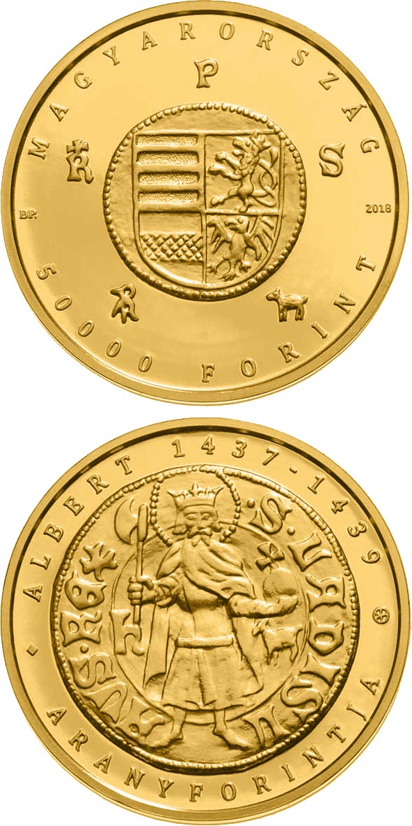 Image of 50000 forint coin - The Gold Florin of Albert Habsburg (1397-1439) | Hungary 2018.  The Gold coin is of Proof quality.