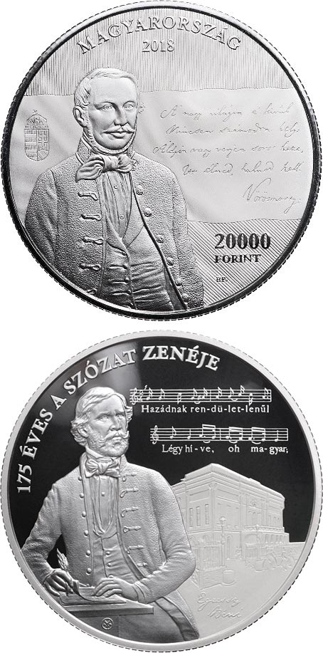 Image of 20000 forint coin - 175th Anniversary of Setting the Szózat to Music | Hungary 2018.  The Silver coin is of Proof quality.