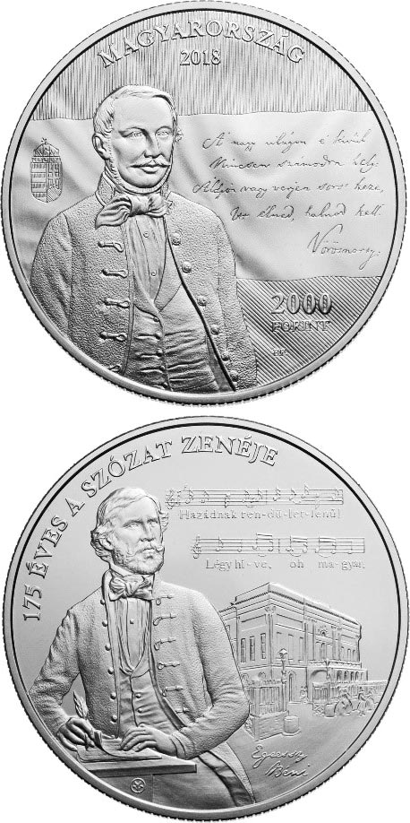 Image of 2000 forint coin – 175th Anniversary of Setting the Szózat to Music | Hungary 2018.  The Brass coin is of BU quality.