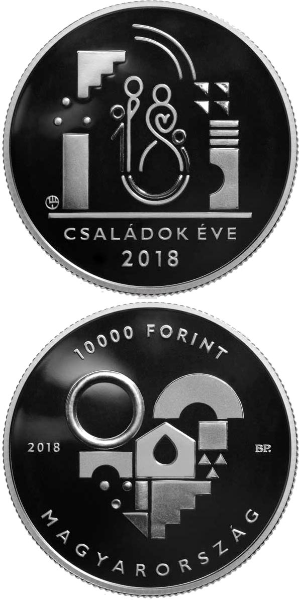 Image of 10000 forint coin - Year of the Families | Hungary 2018.  The Silver coin is of Proof quality.