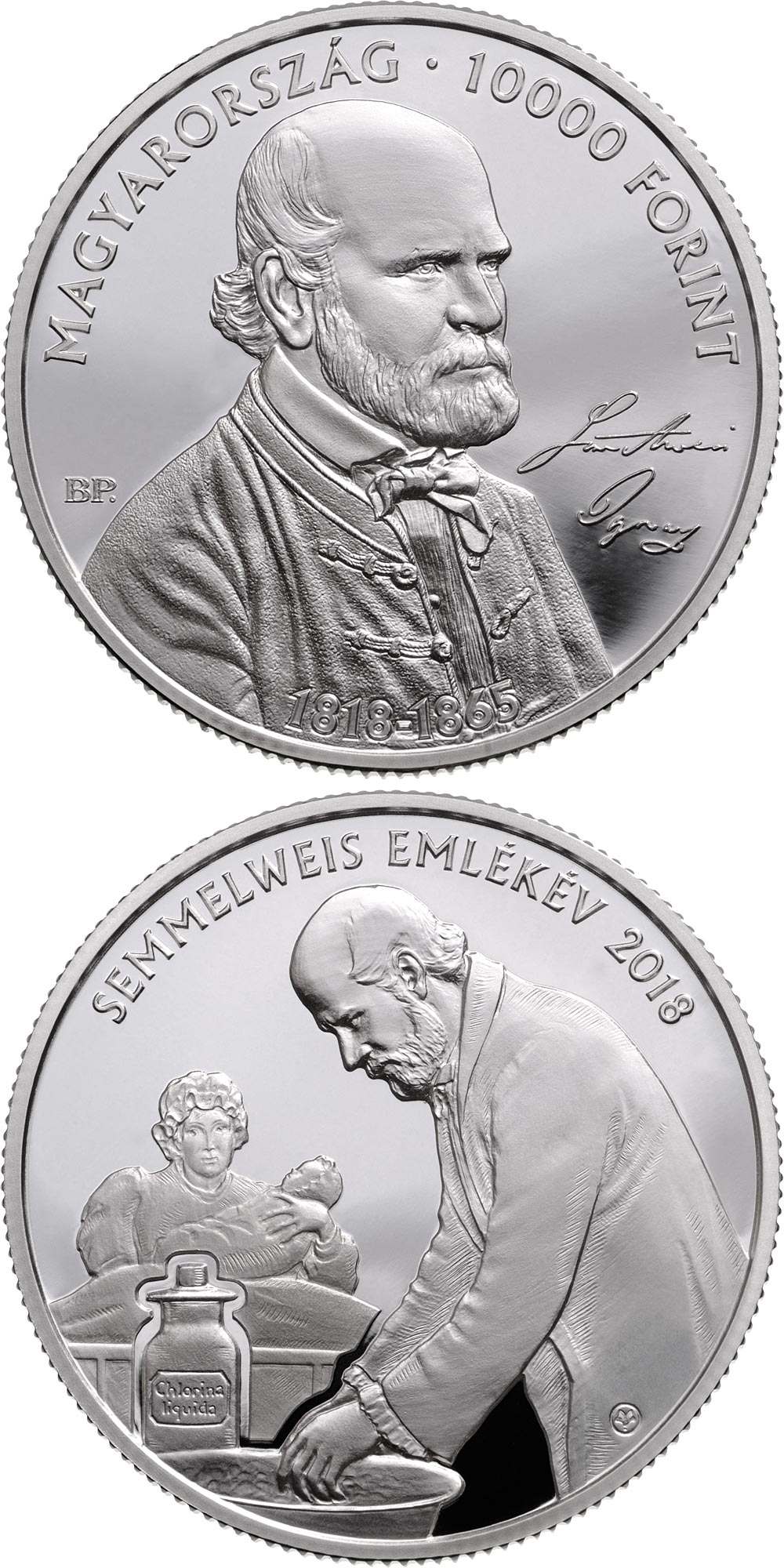 Image of 10000 forint coin – 200th Anniversary of the Birth of Ignác Semmelweis (1818-1865) | Hungary 2018.  The Silver coin is of Proof quality.