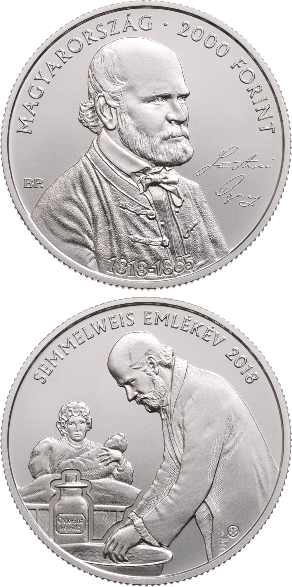 Image of 200th Anniversary of the Birth of Ignác Semmelweis (1818-1865) – 2000 forint coin Hungary 2018.  The Brass coin is of BU quality.