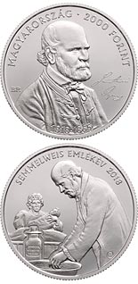 2000 forint coin 200th Anniversary of the Birth of Ignác Semmelweis (1818-1865) | Hungary 2018