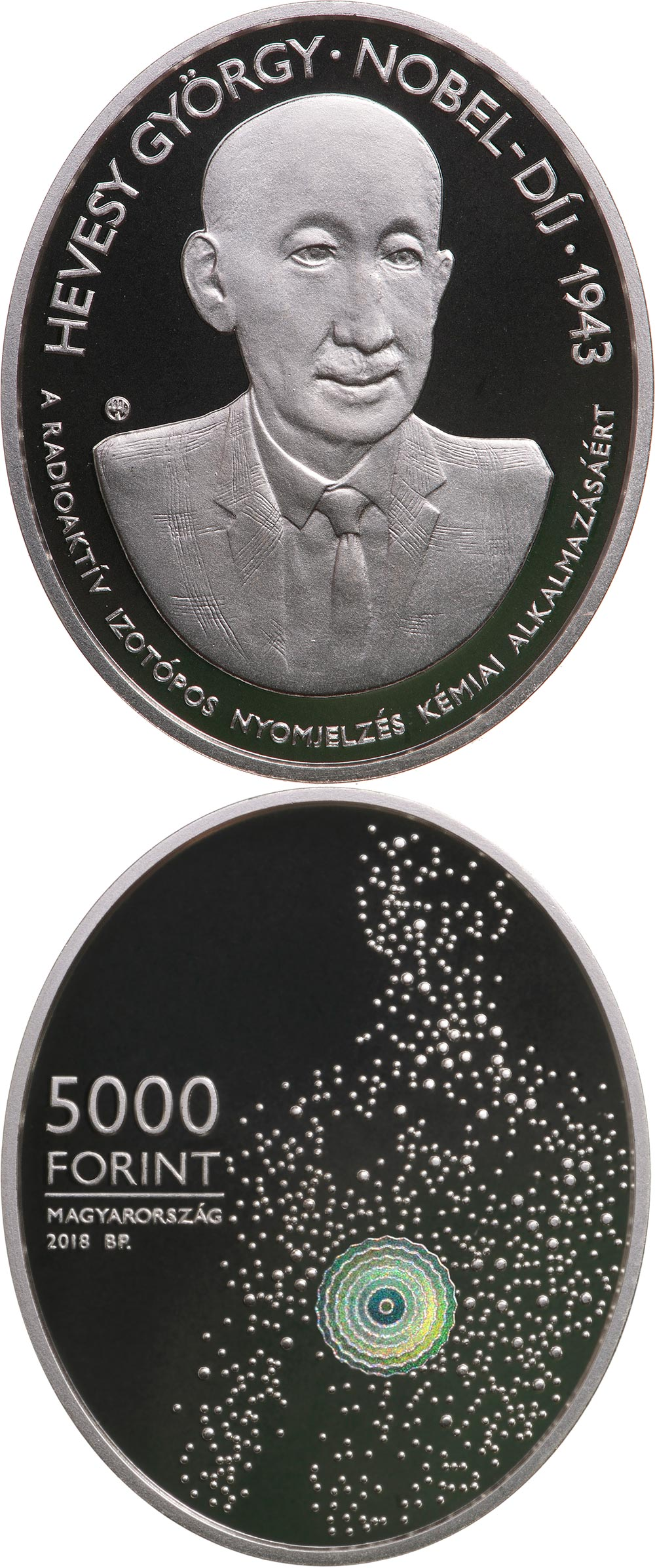 Image of 5000 forint coin - 75th Anniversary of the Nobel Prize of György Hevesy | Hungary 2018.  The Silver coin is of Proof quality.