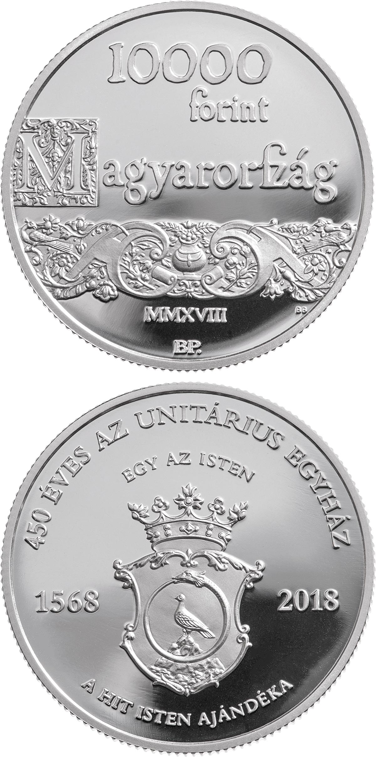 Image of 10000 forint coin - 450th Anniversary of the Unitarian Church | Hungary 2018.  The Silver coin is of Proof quality.