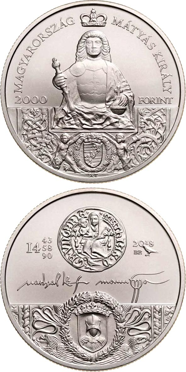 Image of 2000 forint coin – King Matthias Memorial Year | Hungary 2018.  The Copper coin is of BU quality.