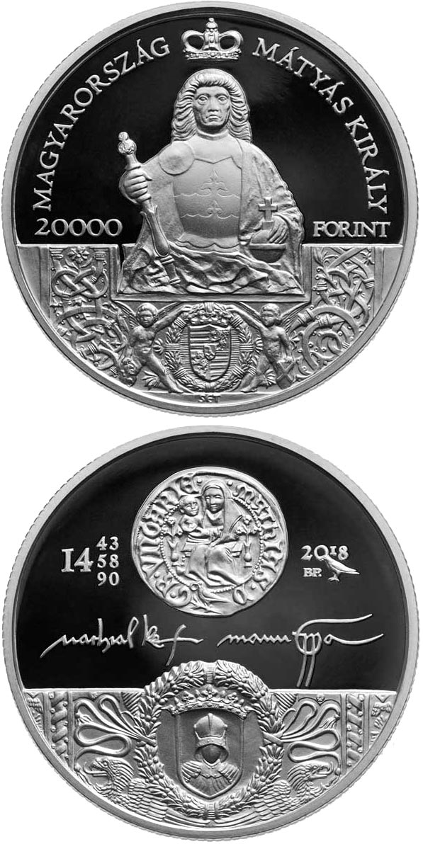 Image of 20000 forint coin – King Matthias Memorial Year | Hungary 2018.  The Silver coin is of Proof quality.