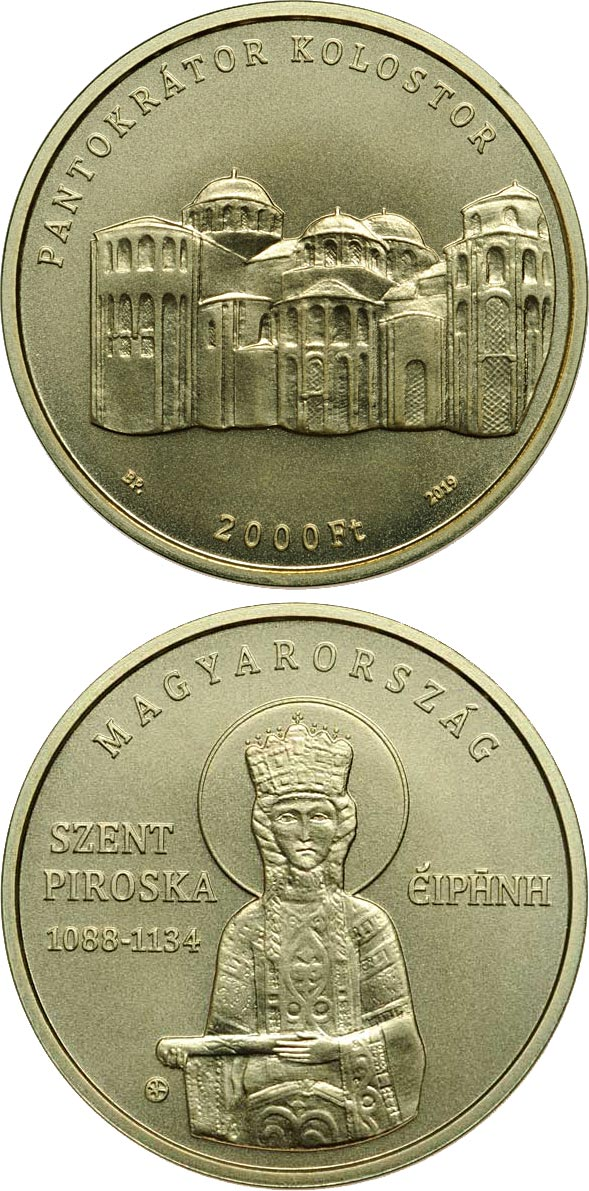 Image of 2000 forint coin - Irene of Hungary (1088-1134) | Hungary 2019.  The Brass coin is of BU quality.