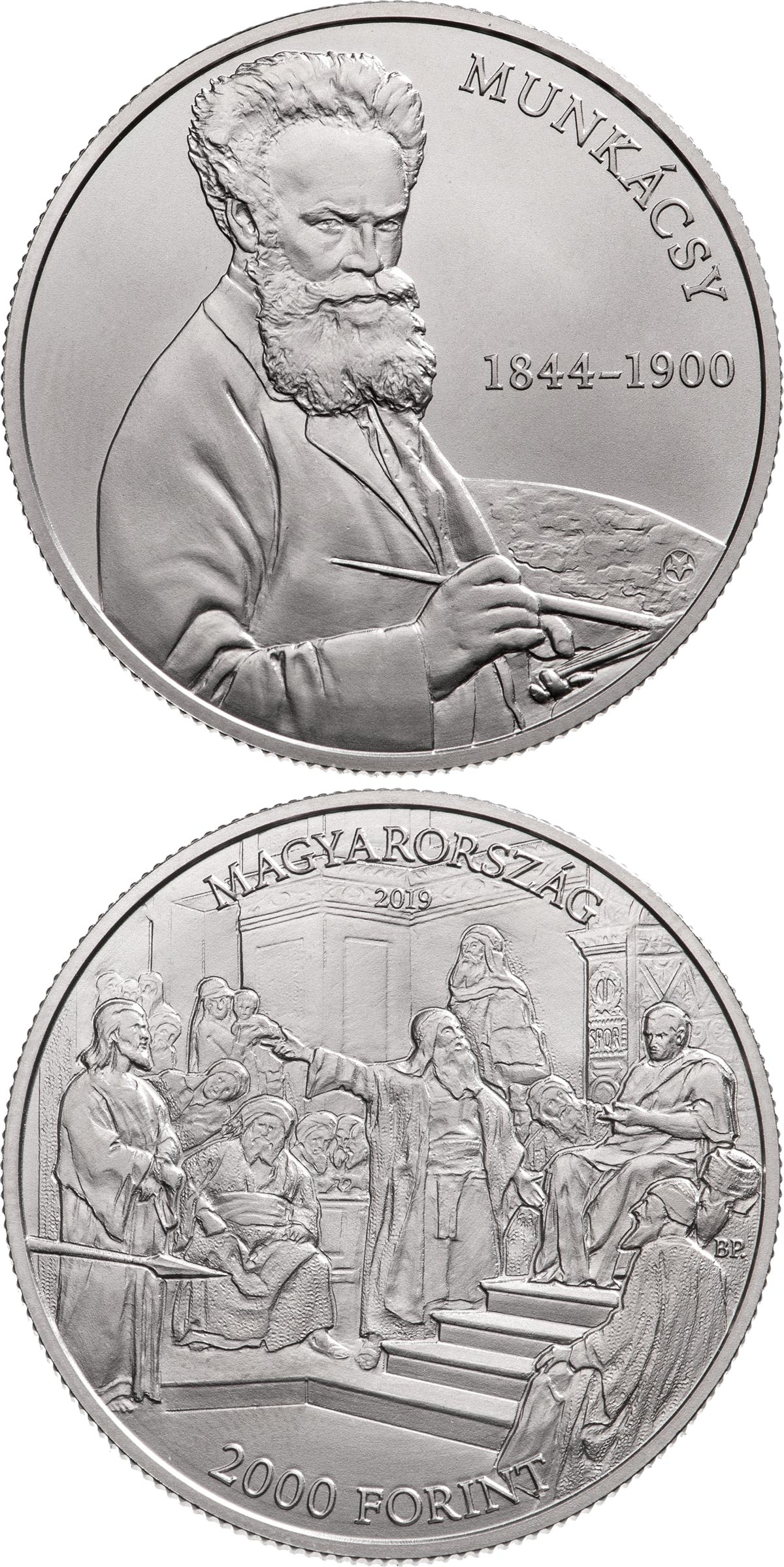 Image of 2000 forint coin - 175th anniversary of Mihály Munkácsy's birth | Hungary 2019.  The Copper–Nickel (CuNi) coin is of BU quality.