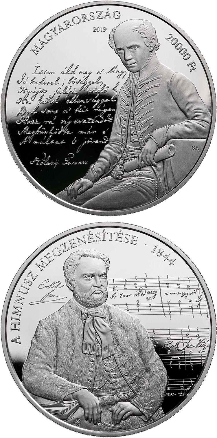Image of 20000 forint coin - 175th anniversary of the musical setting to the Anthem | Hungary 2019.  The Silver coin is of Proof quality.