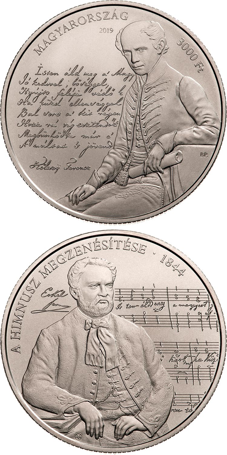 Image of 3000 forint coin - 175th anniversary of the musical setting to the Anthem | Hungary 2019.  The Copper–Nickel (CuNi) coin is of BU quality.