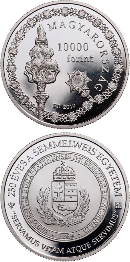 Image of 10000 forint coin - 250th Anniversary of the Foundation of Semmelweis University | Hungary 2019.  The Silver coin is of Proof quality.