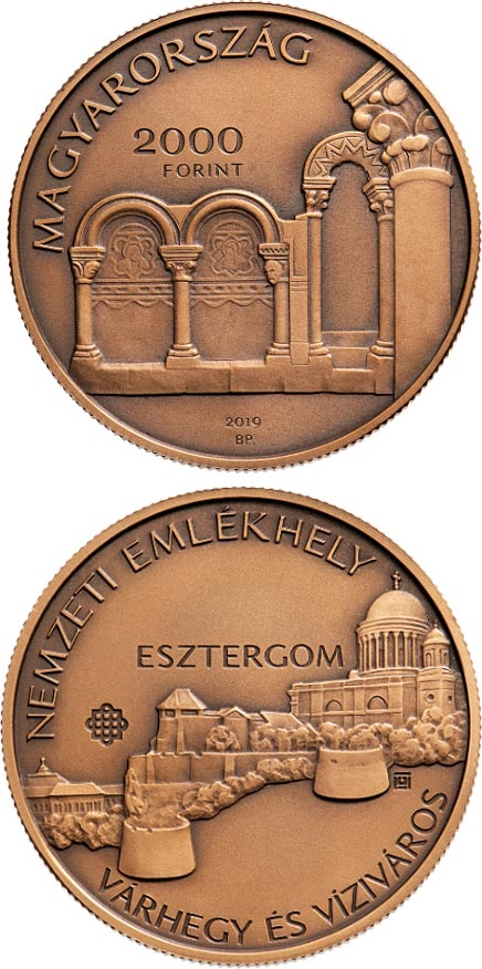 Image of 2000 forint coin - Esztergom, Castle Hill and Víziváros National Memorial Site | Hungary 2019.  The Brass coin is of BU quality.