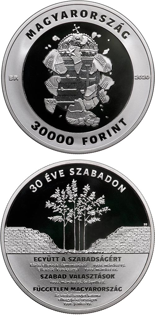 Image of 30000 forint coin - 30th anniversary of the political transition | Hungary 2020.  The Silver coin is of Proof quality.