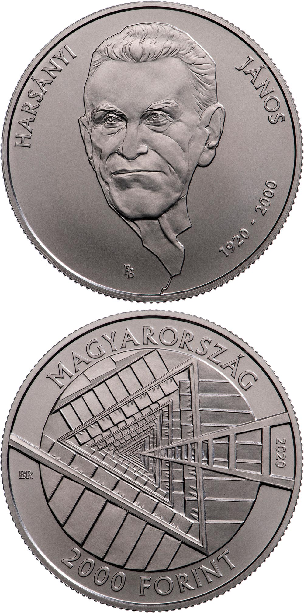 Image of 2000 forint coin - 100th Anniversary of the Birth of János Harsányi | Hungary 2020.  The Copper–Nickel (CuNi) coin is of BU quality.