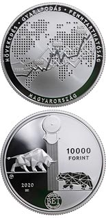 10000 forint coin 30th anniversary of the re-establishment of the Budapest Stock Exchange | Hungary 2020