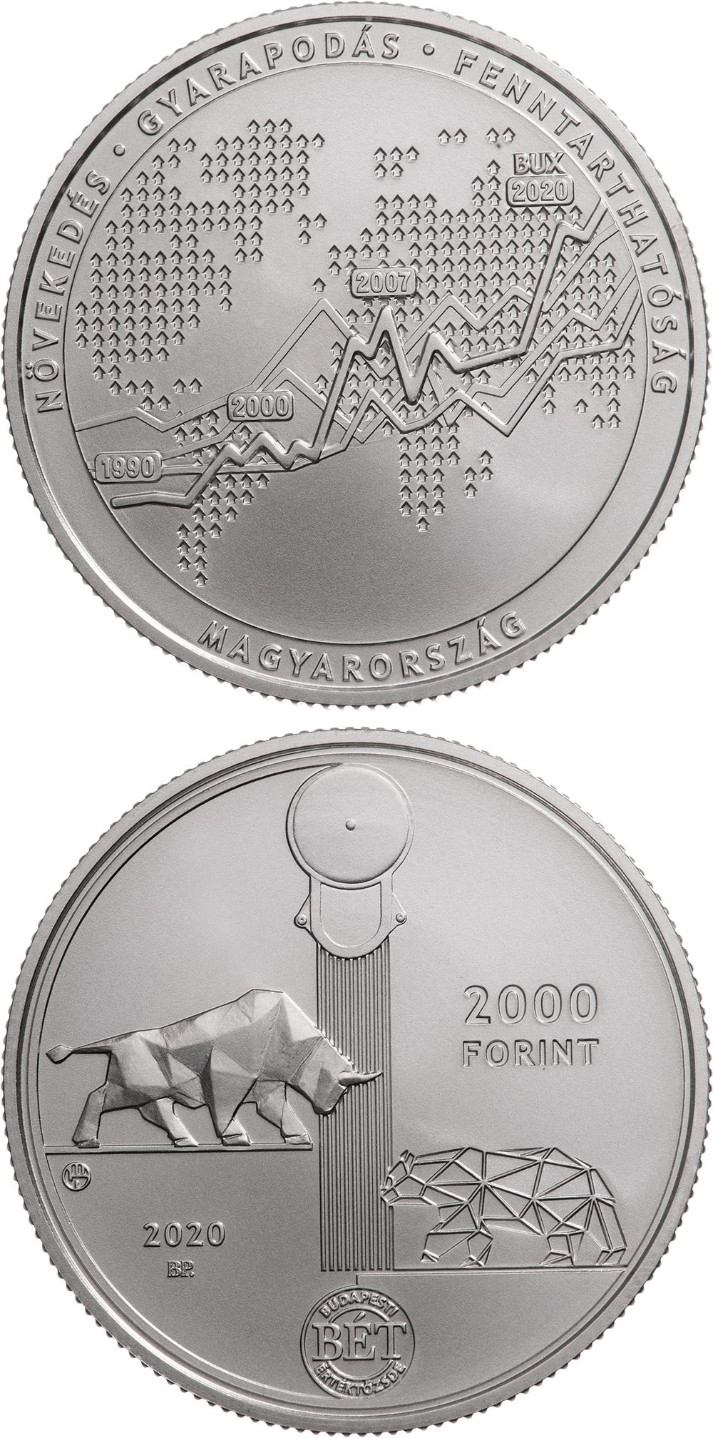 Image of 2000 forint coin - 30th anniversary of the re-establishment of the Budapest Stock Exchange | Hungary 2020.  The Copper–Nickel (CuNi) coin is of BU quality.