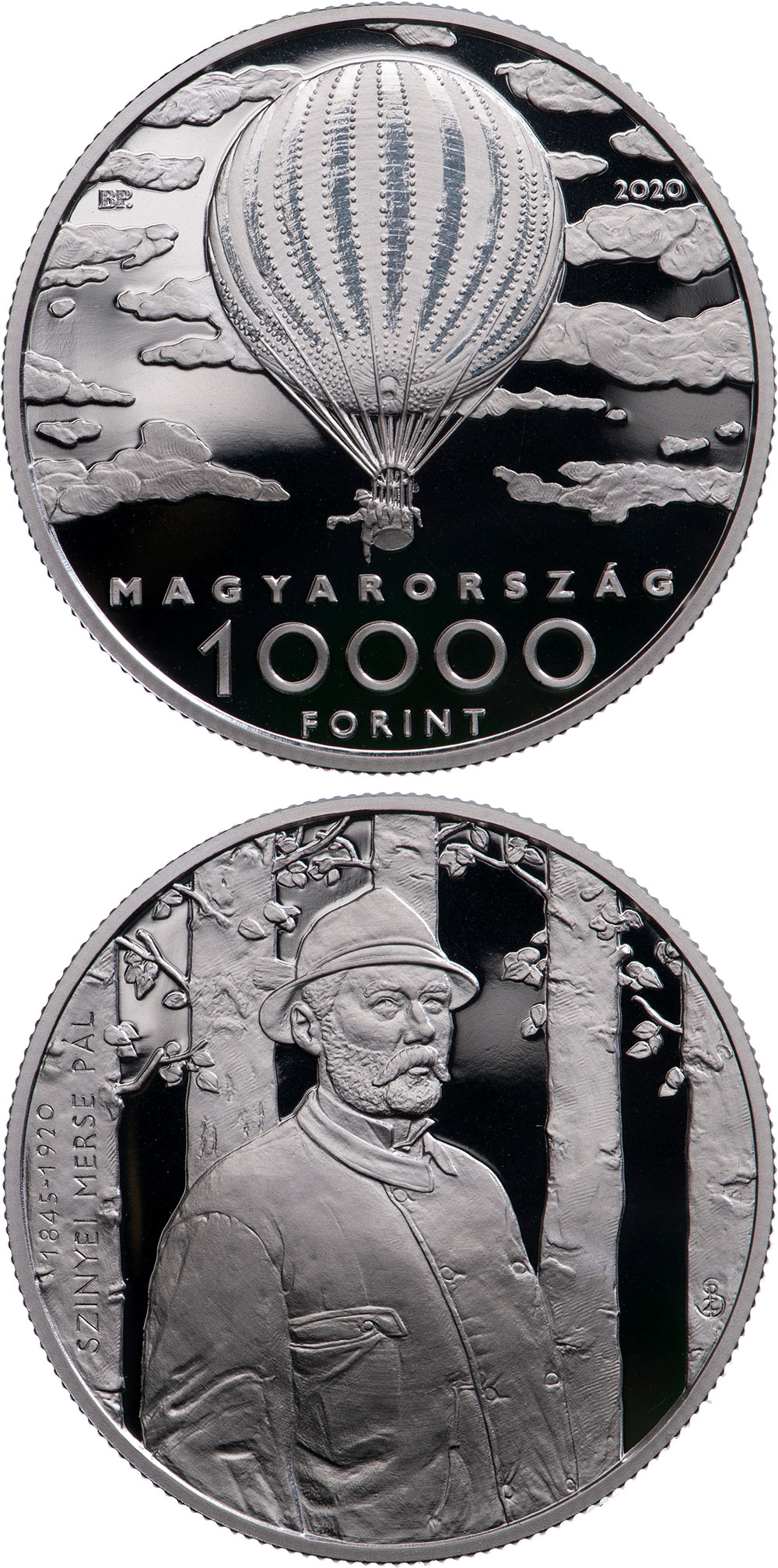 Image of 10000 forint coin - Double Anniversary of Pál Szinyei Merse | Hungary 2020.  The Silver coin is of Proof quality.