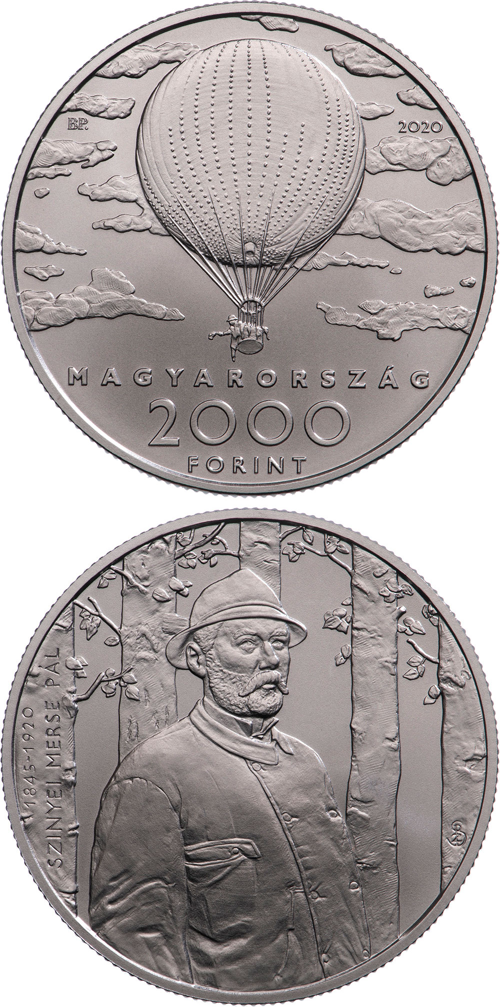 Image of 2000 forint coin - Double Anniversary of Pál Szinyei Merse | Hungary 2020.  The Copper–Nickel (CuNi) coin is of BU quality.