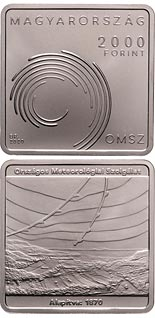 2000 forint coin 150th anniversary of the Hungarian Meteorological Service's foundation | Hungary 2020