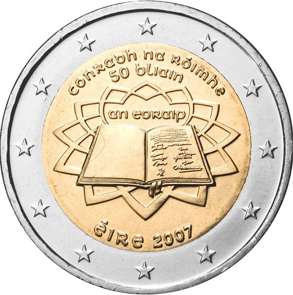 Image of 50th Anniversary of the Treaty of Rome – 2 euro coin Ireland 2007