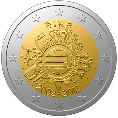 Image of 2 euro coin - Ten years of Euro  | Ireland 2012