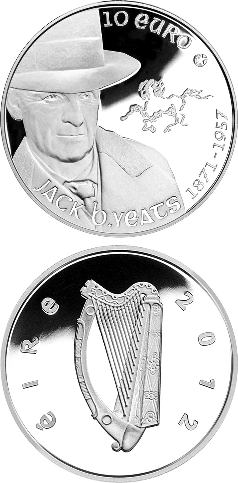 Image of 10 euro coin - Jack Butler Yeats | Ireland 2012.  The Silver coin is of Proof quality.