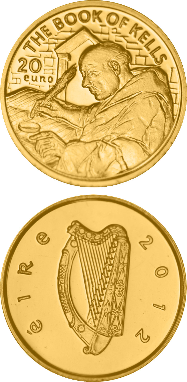 Image of 20 euro coin - Book of Kells | Ireland 2012.  The Gold coin is of Proof quality.