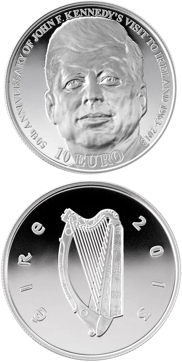 Image of 10 euro coin - 50th Anniversary of President John F. Kennedy's visit to Ireland | Ireland 2013.  The Silver coin is of Proof quality.