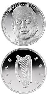 10 euro coin 50th Anniversary of President John F. Kennedy's visit to Ireland | Ireland 2013
