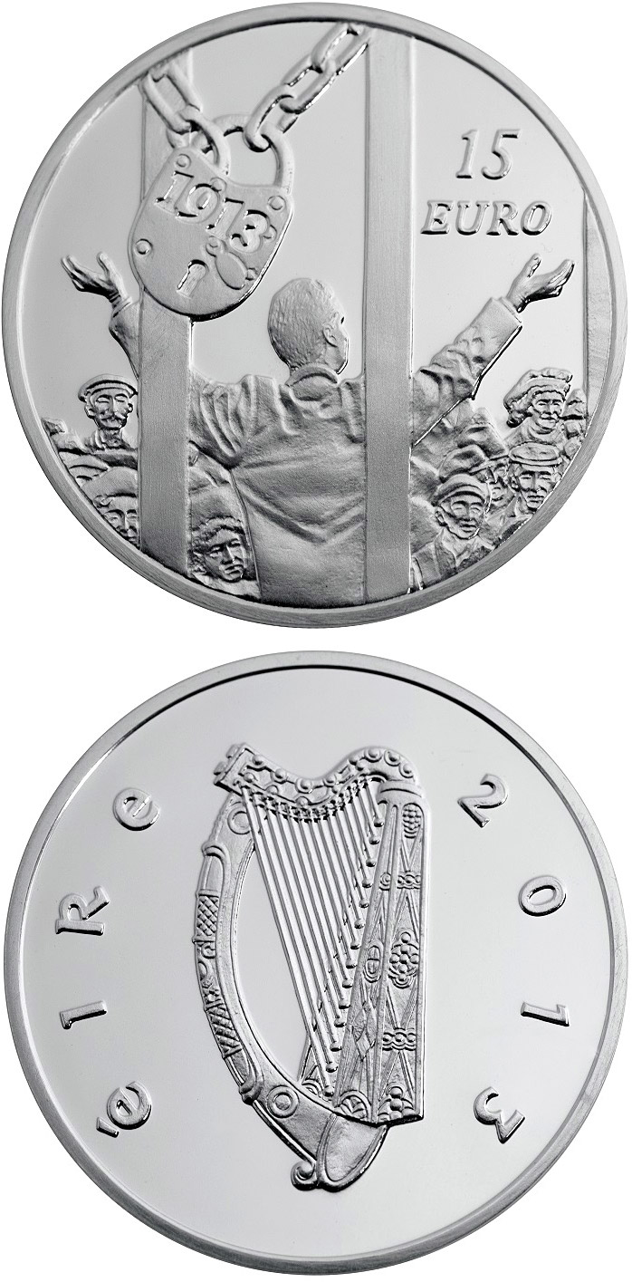 Image of 15 euro coin - The centenary of the 1913 Dublin Lockout | Ireland 2013.  The Silver coin is of Proof quality.