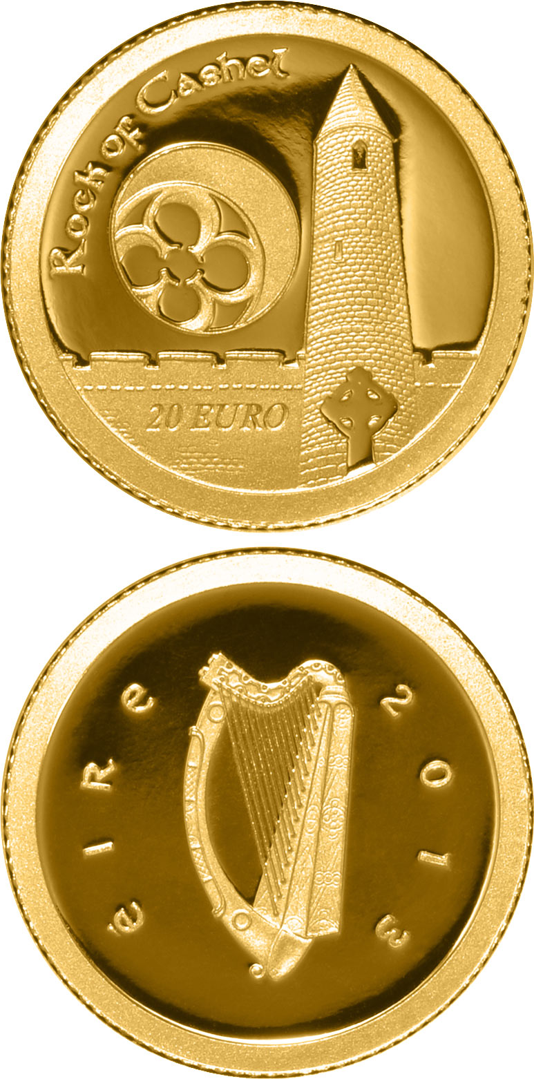 Image of 20 euro coin – Rock of Cashel | Ireland 2013.  The Gold coin is of Proof quality.