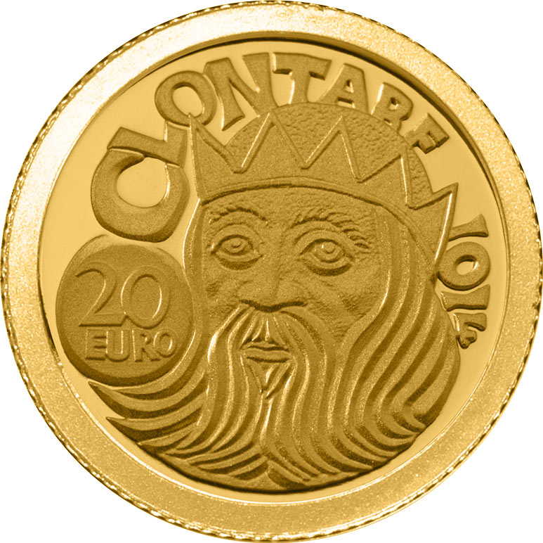 Image of 20 euro coin - The Battle of Clontarf  | Ireland 2014.  The Gold coin is of Proof quality.