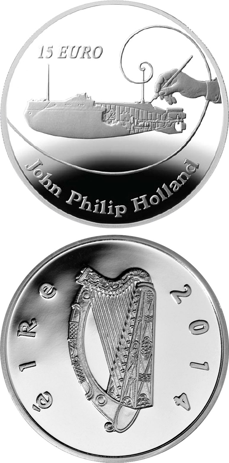 Image of John Philip Holland – 15 euro coin Ireland 2014.  The Silver coin is of Proof quality.