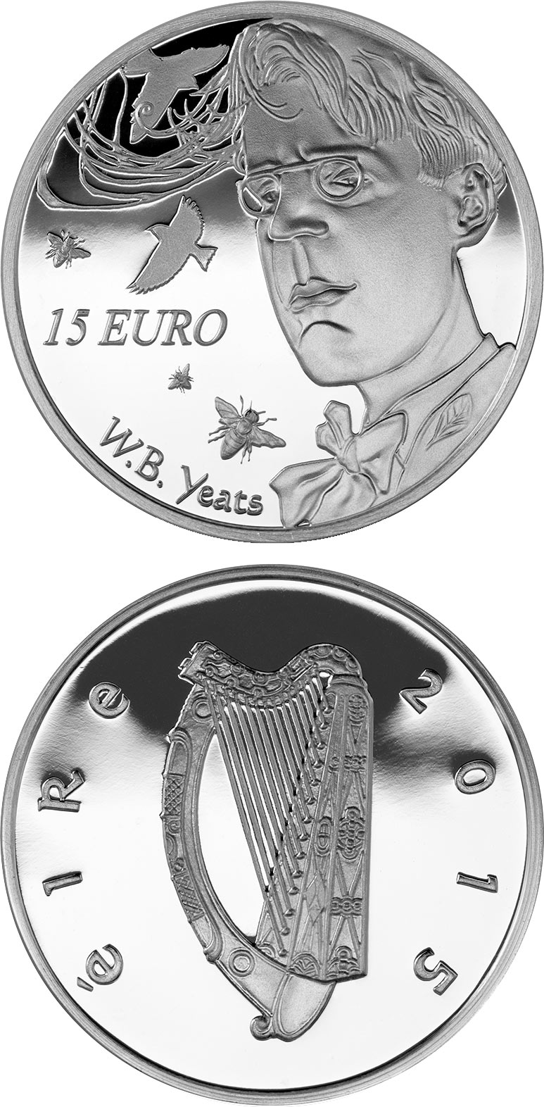 15 euro 150th Anniversary of the Birth of W.B. Yeats - 2015 - Series: Irish others commmorative coins - Ireland