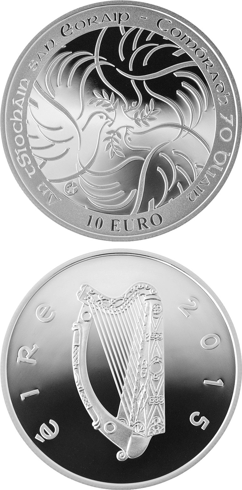 Image of 10 euro coin - 70th Anniversary of the End of the Second World War | Ireland 2015.  The Silver coin is of Proof quality.