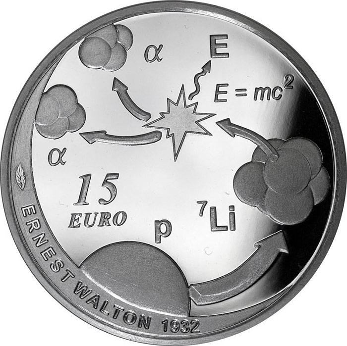 Image of 15 euro coin - The Nobel Prize in Physics, Ernest Walton | Ireland 2015.  The Silver coin is of Proof quality.