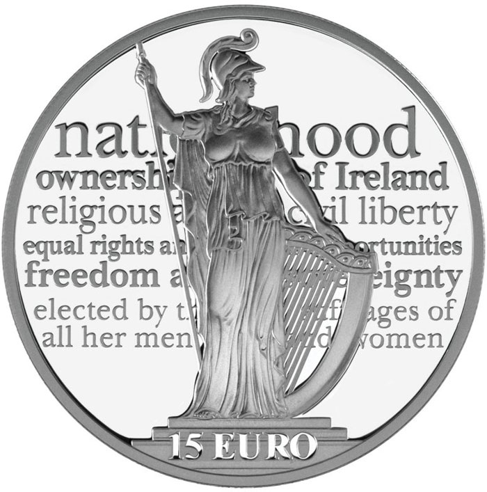 Image of 15 euro coin - 100th anniversary of the Proclamation of the Irish Republic | Ireland 2016