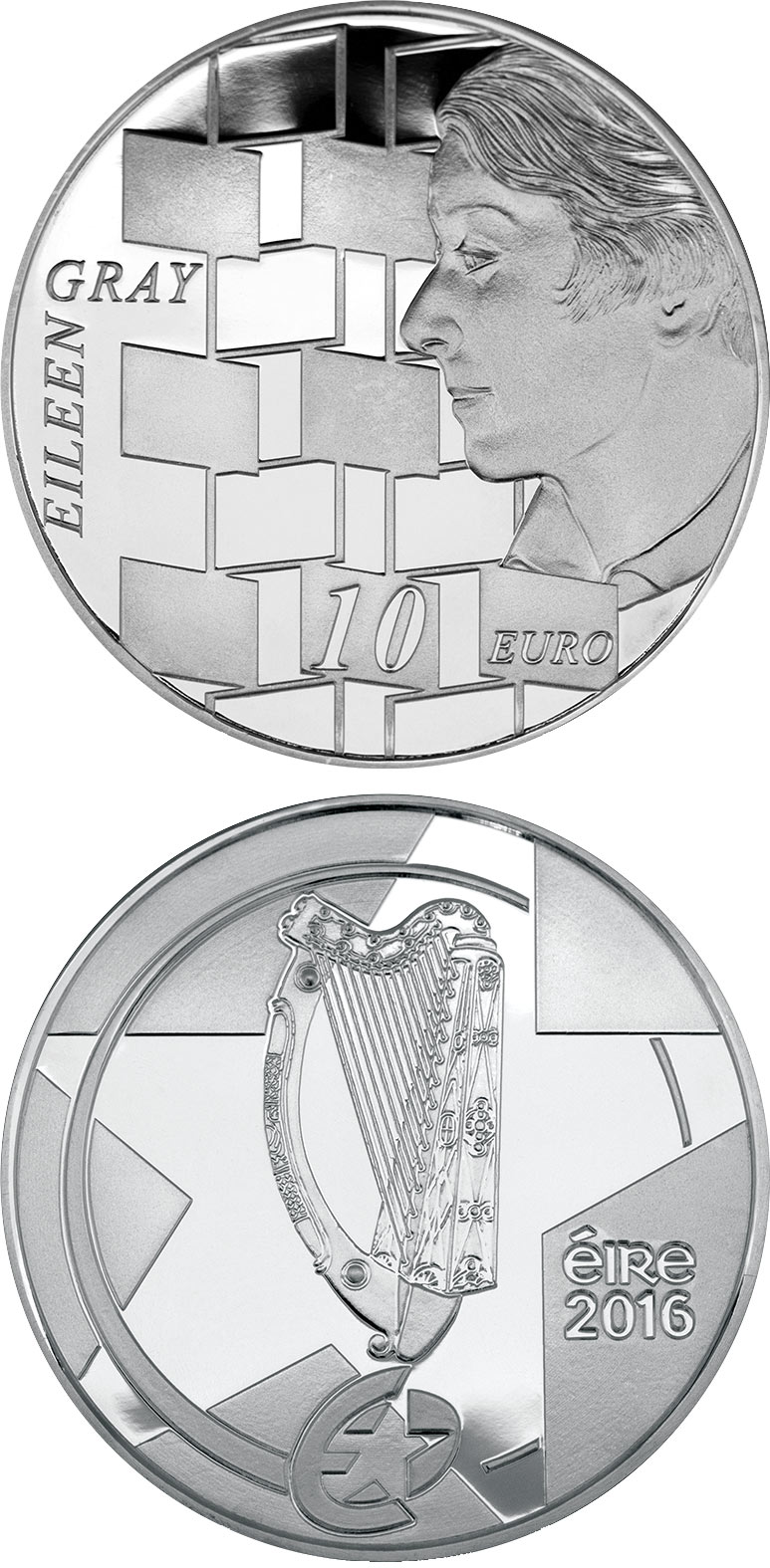 Image of 10 euro coin – Eileen Gray | Ireland 2016.  The Silver coin is of Proof quality.