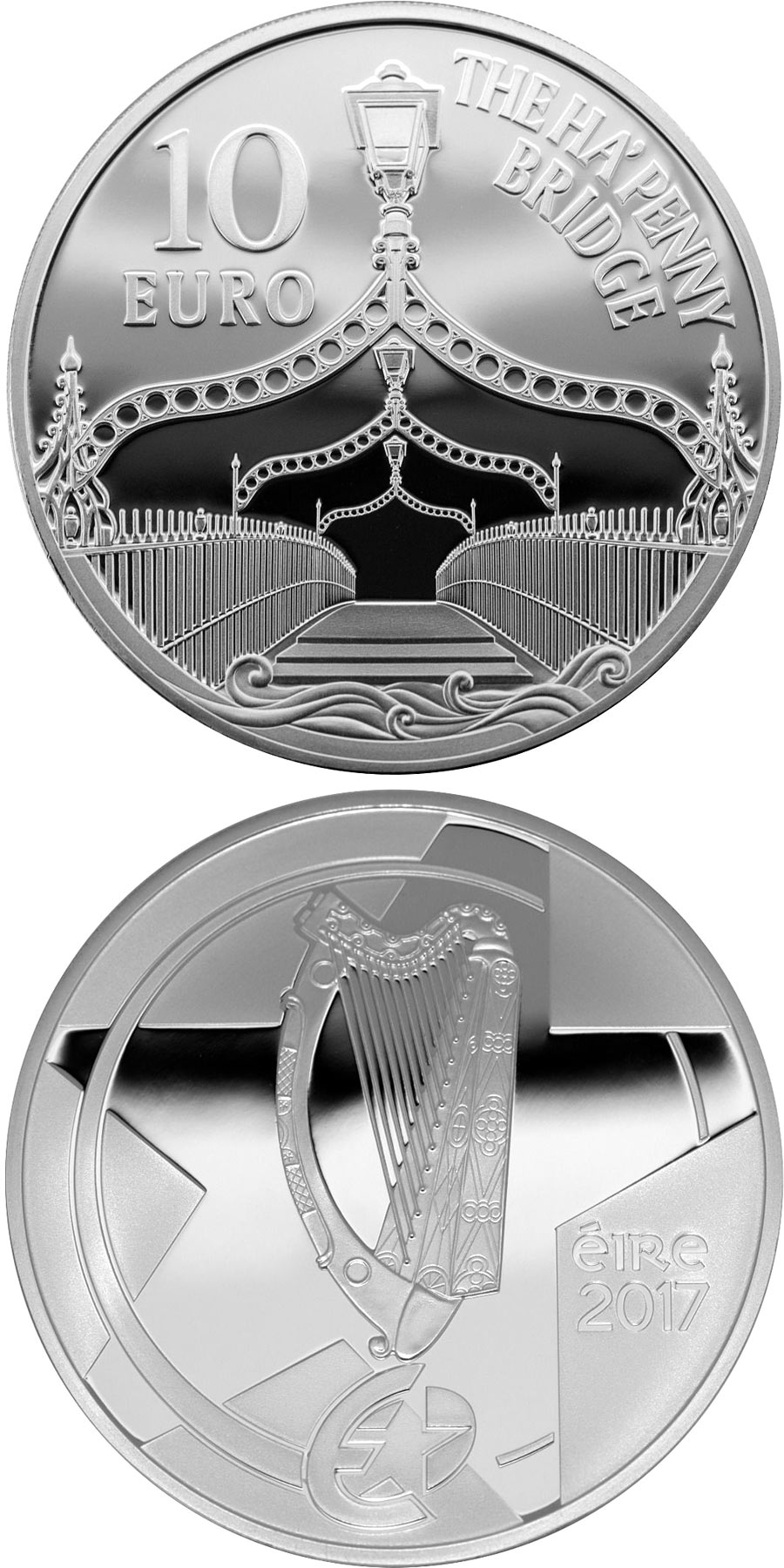 Image of 10 euro coin - Ha'Penny Bridge | Ireland 2017.  The Silver coin is of Proof quality.